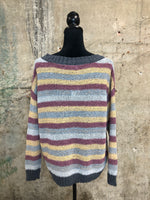 Multi-Colored Striped Knit Sweater