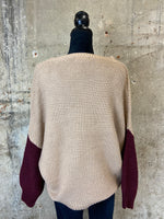 Sand/Maroon Color Block Sweater