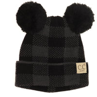 C.C. Baby Buffalo Plaid Double Pom Beanie