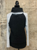 Charcoal Striped Sleeve Sweater