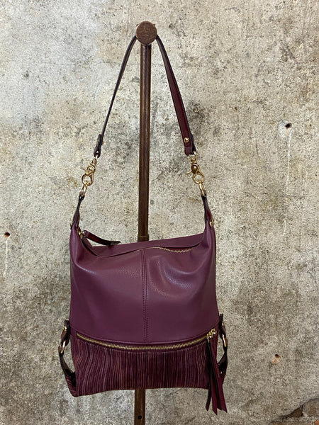 Plum Side Zipper Hobo