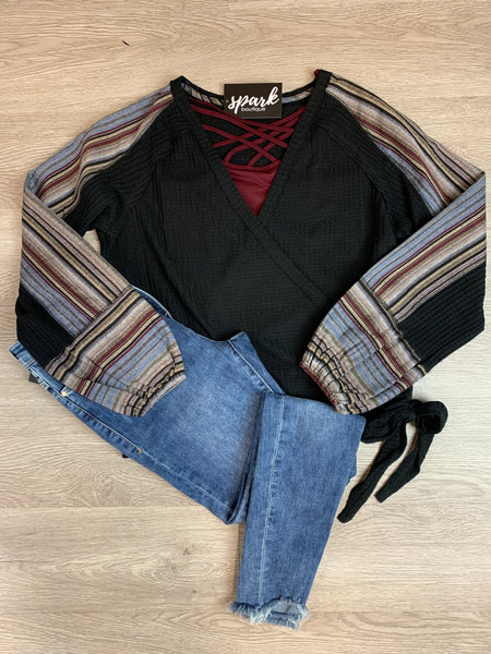 Black/Mix Waffle Surplus Top