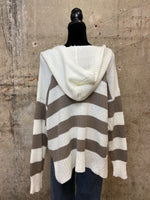 Ivory/Cocoa Stripe Hooded Sweater