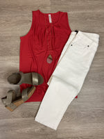 Ruby Red Pleated Tank