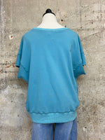 Dusty Teal Raw Edge Muscle Top