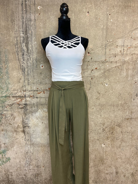 Olive Front Tie Pant