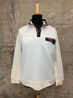 Cream Quilted Pullover With Plaid