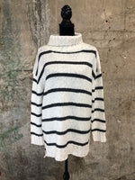 Oatmeal Striped Cowl Neck Sweater