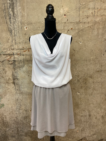 White Draped Neck Sleeveless Top