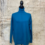 Teal Hi-Lo Turtleneck With Front Seam