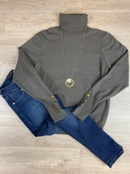Charcoal Button Accent Turtleneck Sweater