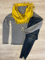Grey Ruffle Edge Sweater
