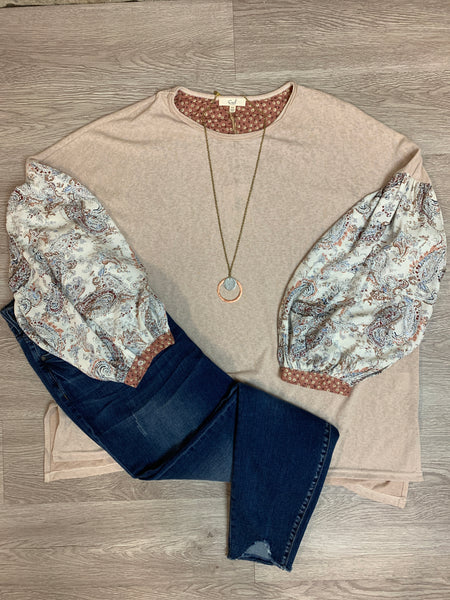 Oatmeal Printed Sleeve Top