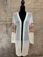 Ivory Loose Knit Multi Striped Cardigan