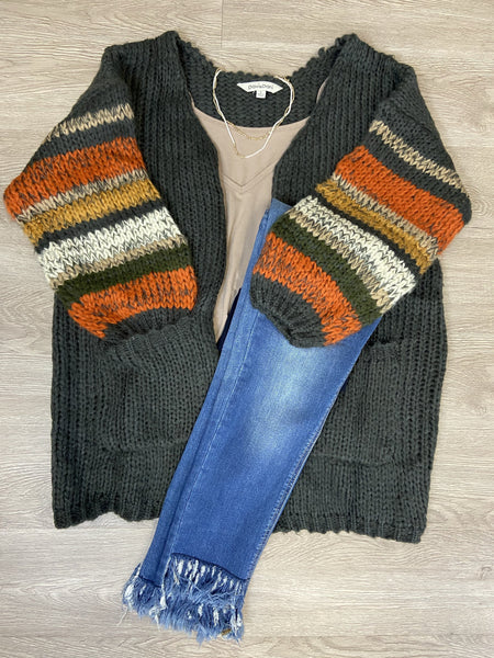 Charcoal/Mutli Color Sleeve Cardigan