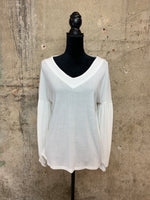 White V-Neck Bubble Sleeve Sweater