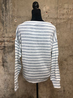 Ivory/Navy Stripe Shoulder Zipper Top