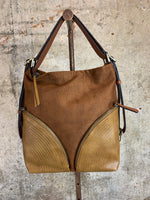 Cognac Mixed Material Hobo