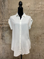 White Collared Button Down Top