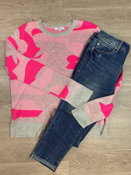 Neon Pink Camouflage Sweater