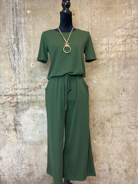 Army Green Capri Jumpsuit