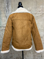 Camel Bomber Jacket With Faux Fur