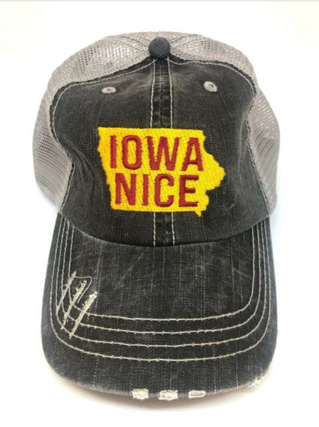 """Iowa Nice"" Red/Gold Embroidered Hat"