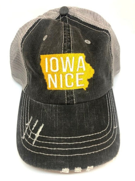 """Iowa Nice"" White/Gold Embroidered Hat"