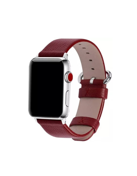 Dark Red Leather Apple Watch Band