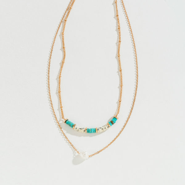 Turquoise/Pearl/Bead Layered Necklace