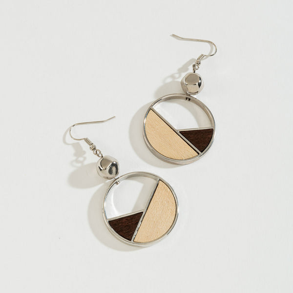 Gold Two Tone Wood Cutout Earring
