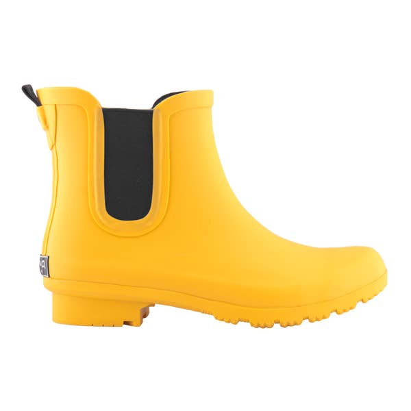Matte Yellow Ankle Rain Boots