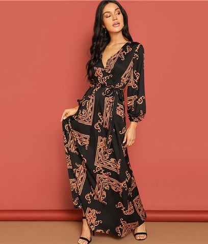 abd277a05f SHEIN Multicolor Scarf Print Belted Maxi Wrap Dress V Neck Long Sleeve Fit  and Flare A ...