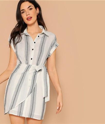 87b657f63e0 SHEIN White Rolled Up Cap Sleeve Wrap Knot Striped Slim Summer Shirt Dress  Women 2019 Office ...