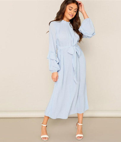 5ccba9b305c ... SHEIN Lady Casual Blue Frill Neck Belted Solid Pleated Maxi Dress Women  Elegant Stand Collar Bishop