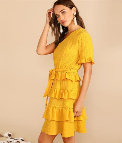 fc68b54090 ... SHEIN Boho Ginger One Shoulder Layered Ruffle Crinkle Belted Summer  Party Dress Women Solid Tunic Shift