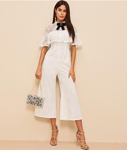 bf3e3d4562 SHEIN Office Lady Bow Detail Lace Bodice Ruffle Foldover Wide Leg Jumpsuit  Women 2019 Summer Autumn ...