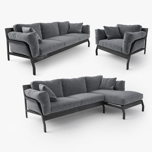 Cassina Eloro Sofa and Armchair 3D Model