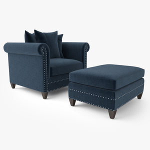 Crate and Barrel Durham Chair and Ottoman 3D Model