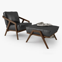 Dare Studio Katakana Lounge Chair and Ottoman 3D Model