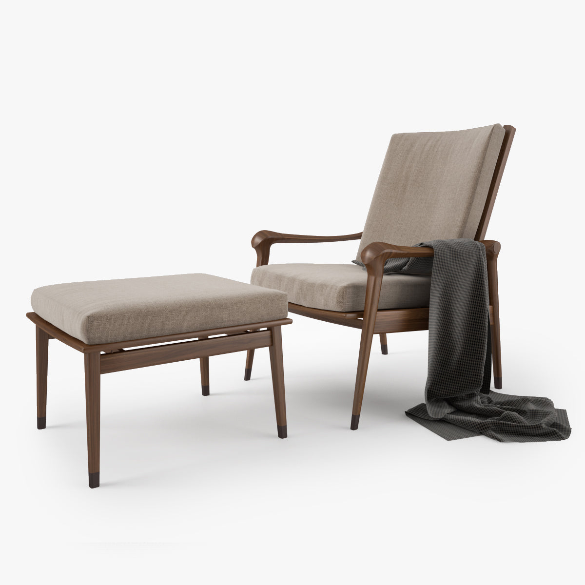 Giorgetti Denny Armchair and Stool 3D Model