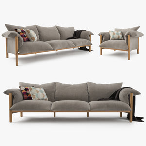 Jardan Wilfred Sofa and Chair Set 3D Model