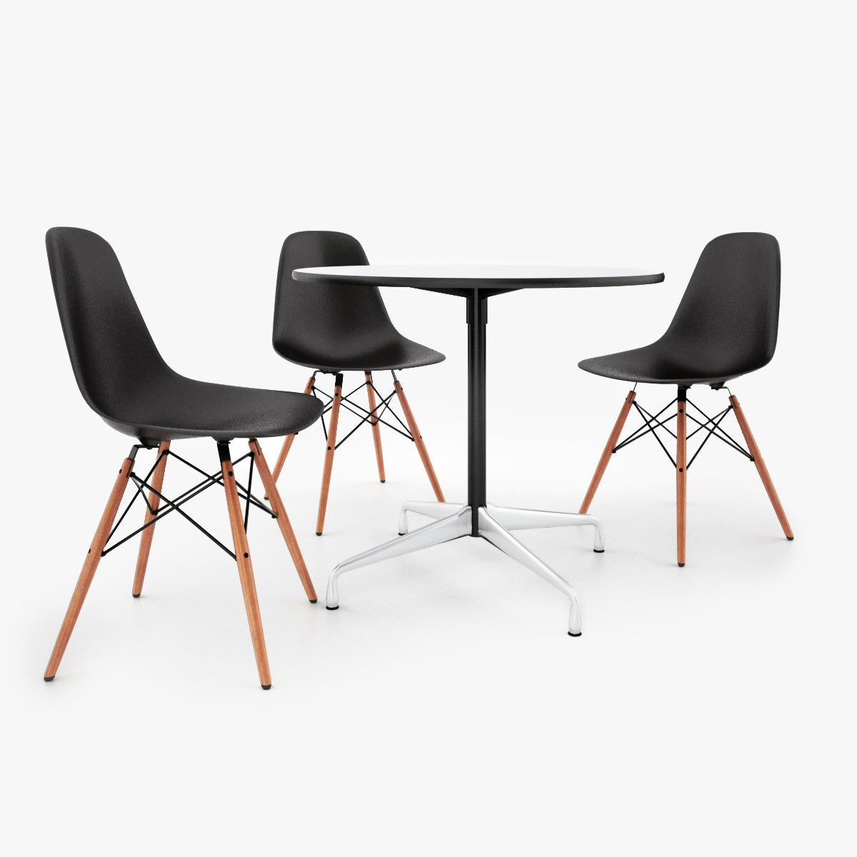 Vitra DSW Chair & Eames Tables 3D Model
