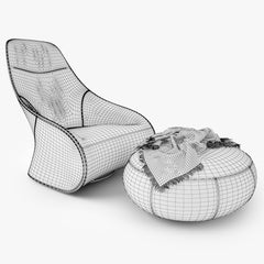 Zanotta Derby Armchair and Pouf 3D Model