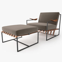 Espasso Annette Armchair and Ottoman 3D Model