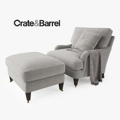 Crate and Barrel Essex Chair and Ottoman 3D Model