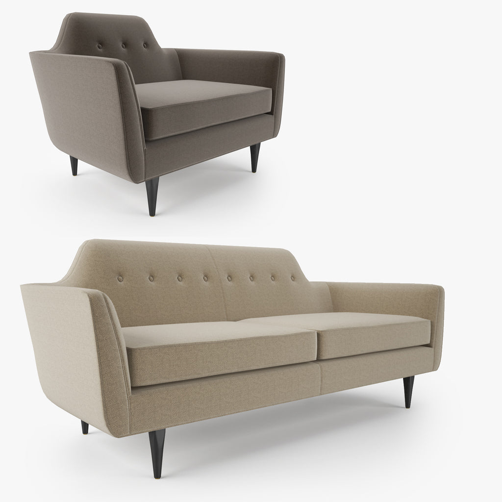 Crate And Barrel Gia Button Tufted Apartment Sofa And Chair 3d Model