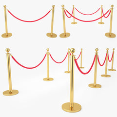 Red Velvet Rope Stanchion Set 3D Model