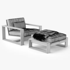 Restoration Hardware Porto Armchair & Ottoman 3D Model