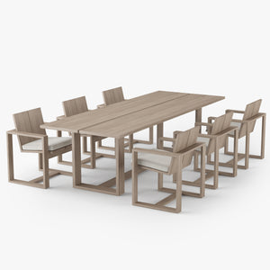 Restoration Hardware Porto Dining Table & Chair 3D Model